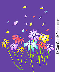 drawing of beautiful flower and petal in a purple background