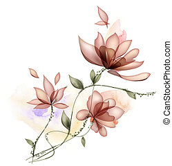flower - drawing of beautiful flower in a white background