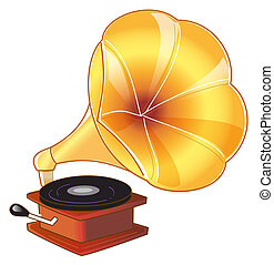 gramophone - drawing of beautiful gold gramophone in a white...