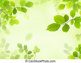 drawing of beautiful green leaves with bead