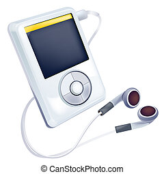 Mp3 player - drawing of beautiful Mp3 player in a white ...
