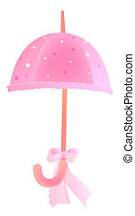 drawing of beautiful umbrella with a pink bowknot
