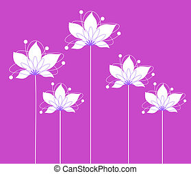 drawing of beautiful white flower in a purple background