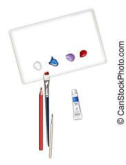 writing brush and painting box