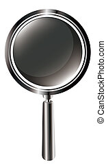 magnifier - drawing of black magnifier in a white background