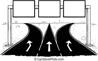 Drawing of Blank Empty Road Sign on Highway