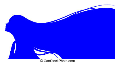 female silhouette with long hair - drawing of blue female ...