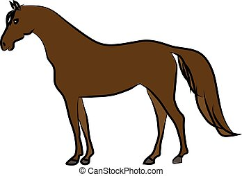 Drawing of brown horse on a white background. Sketch, drawing by hand.