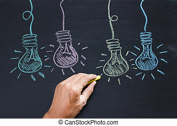 Drawing of bulb idea on black board