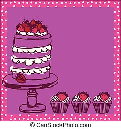 drawing of cake and cupcakes background