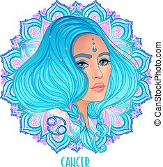 Drawing of Cancer astrological sign as a beautiful girl over ornate mandala pattern. Zodiac vector illustration isolated on white. Future telling, horoscope