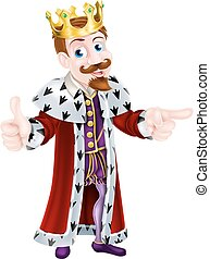 Drawing of Cartoon King - King cartoon character wearing a...