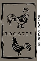 drawing of cock in primitive ancient style, year of rooster