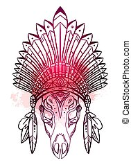 Drawing of deer skull with native cap of Indian with feathers, decorations and red watercolor splashes. Tribal costume.