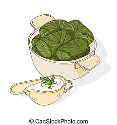 Drawing of dolma in bowl and sauce in gravy boat. Tasty Georgian meal made of grape leaves stuffed with minced meat. Traditional Caucasian food. Colorful vector illustration in vintage style
