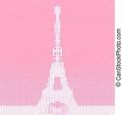 Eiffel tower - Drawing of Eiffel tower in halftone style