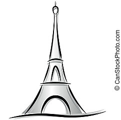 Drawing of eiffel tower - Vector drawing of eiffel tower on...