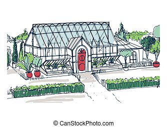 Drawing of elegant glasshouse building with red entrance door surrounded by bushes and trees growing in pots. Freehand sketch of facade of glass greenhouse. Colorful hand drawn vector illustration.