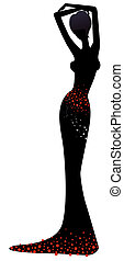 female silhouette - drawing of female silhouette in a white...