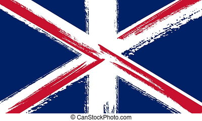 Drawing of Flag of the United Kingdom Of Great Britain and...