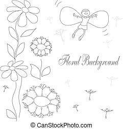 drawing of flowers and flying baby
