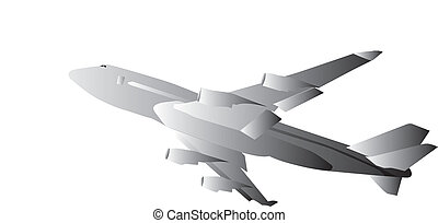 drawing of flying airplane in grey