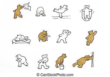Drawing of funny bears that make different movements and ...