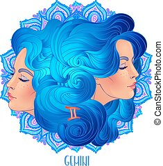 Drawing of Gemini astrological sign as a beautiful girl over...