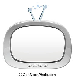 drawing of gray television in a white background