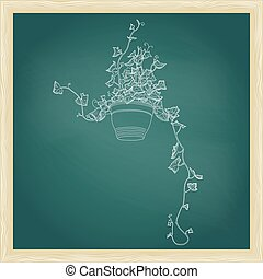 Drawing of green ivy in flowerpot. Abstract vector template
