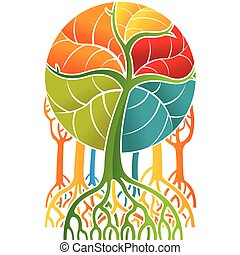 Drawing of group of multicolored mangroves with long roots and the colored leaves forming a circle on white background. Vector image