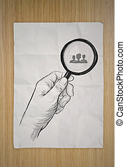 drawing of hand holding magnifier glass looking for employee...