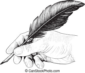 drawing of hand with a feather pen - Vintage drawing of hand...