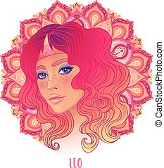 Drawing of Leo astrological sign as a beautiful girl over ornate mandala pattern. Zodiac vector illustration isolated on white. Future telling, horoscope.