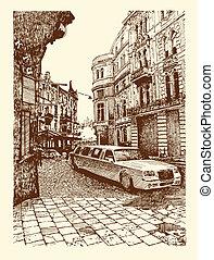 drawing of Lviv historical building, Ukraine - original...