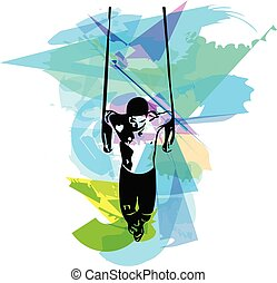 drawing of man doing Crossfit Push Ups With Trx Fitness Straps In The Gym Vector illustration