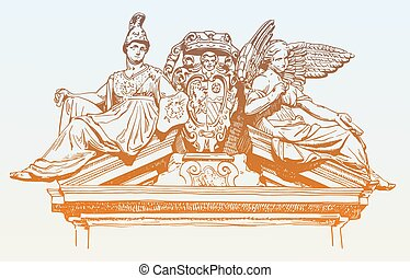 drawing of marble decoration facade historical building with wom