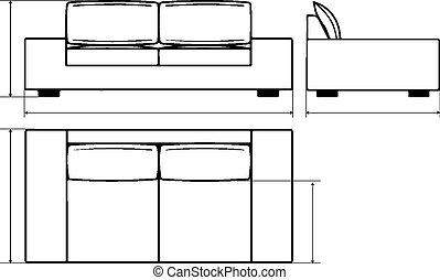 Drawing of modern sofas