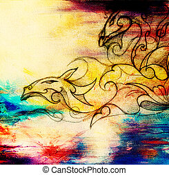drawing of ornamental dragon on old paper background computer collage. and color structure.
