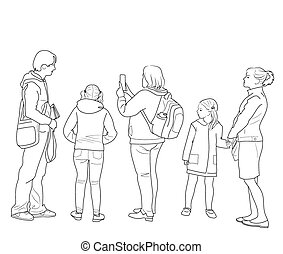 Drawing of people standing