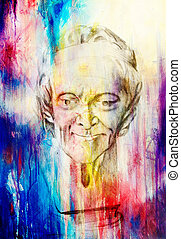 drawing of philosopher voltaire sculpture on abstract background.