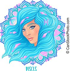 Drawing of Pisces astrological sign as a beautiful girl over ornate mandala pattern. Zodiac vector illustration isolated on white.
