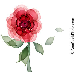 flower - drawing of red flower with green leaves