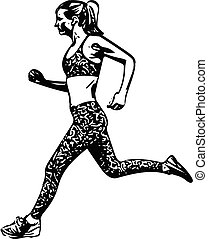 Drawing of Running woman silhouette
