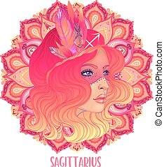 Drawing of Sagittarius astrological sign as a beautiful girl over ornate mandala pattern. Zodiac vector illustration isolated on white. Future telling, horoscope.
