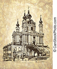 drawing of Saint Andrew orthodox church by Rastrelli in Kyiv