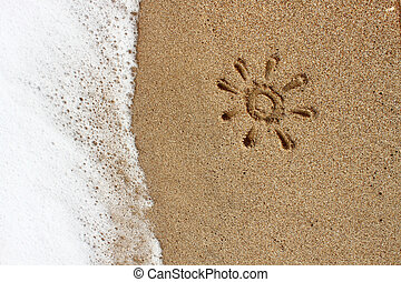 Drawing of sun in the sand