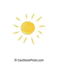 Drawing of sun. Vector illustration
