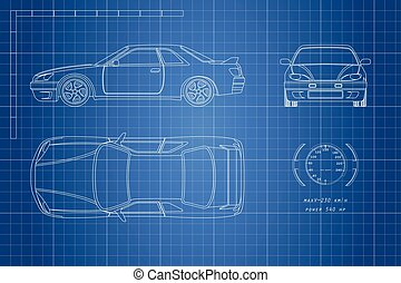 Drawing of the car on a blue background. Top, front and side view. The blueprint of vehicle