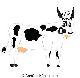 Drawing of the cow on white background